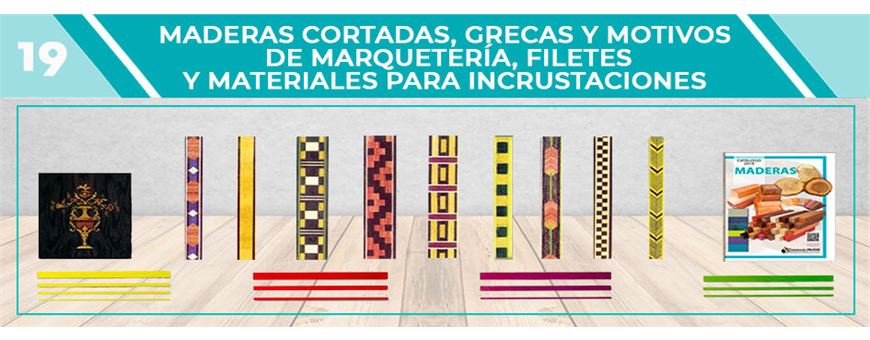 Maderas de Marquetería Cortadas y Grecas | Comercial Pazos
