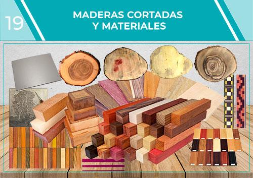 Maderas cortadas, grecas y motivos de marquetería, filetes y materiales para incrustaciones